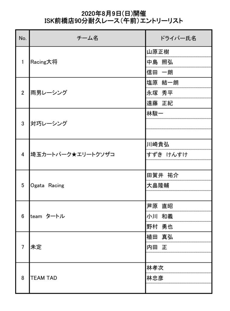 前橋店イベントエントリーリスト(午前)
