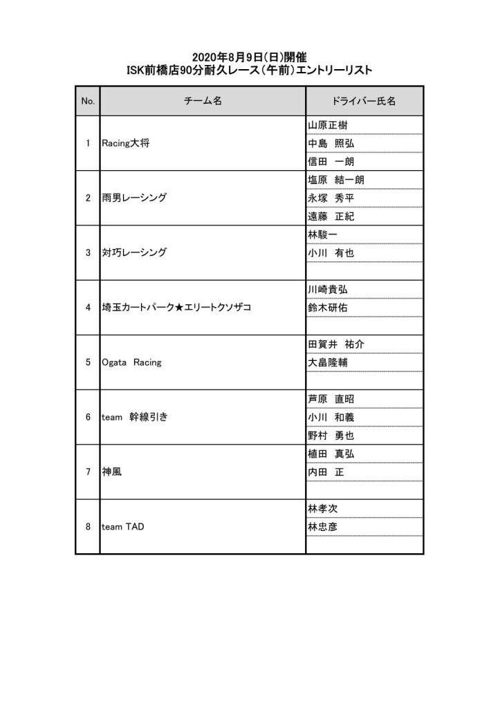 前橋店イベントエントリーリスト(午前の部)